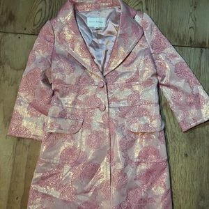 Beautiful floral pink rose trench coat gold thread